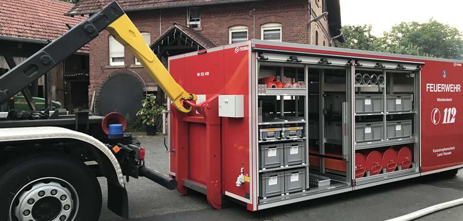 Feuerwehr Aufenau Ausbildung Abrollbehälter Starkregen am 03.08.2020